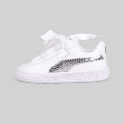 PUMA 兒童休閒運動鞋 Basket Heart Bling Inf 白銀