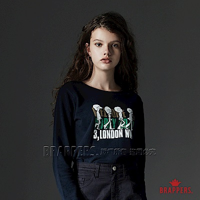 BRAPPERS 女款 披頭四三色印花長袖T-深藍