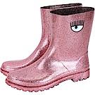 Chiara Ferragni Rainboot 眨眼圖騰低筒雨靴(亮片粉)