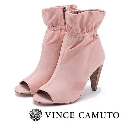 VINCE CAMUTO-麂皮素面縐褶感魚口踝靴-絨粉