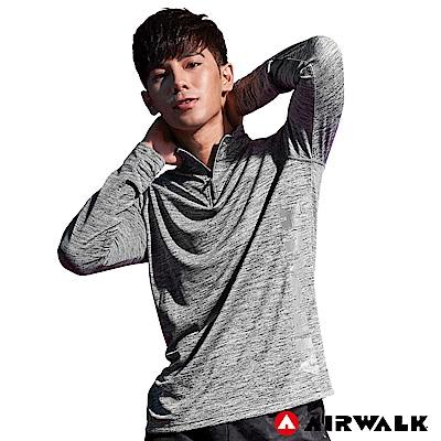 【AIRWALK】男款吸排開襟長T-深灰色