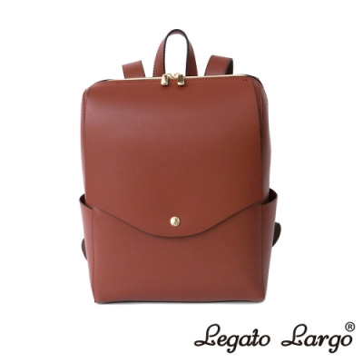 Legato Largo 驚異的輕量化 小法式簡約線條 皮革後背包 紅棕色