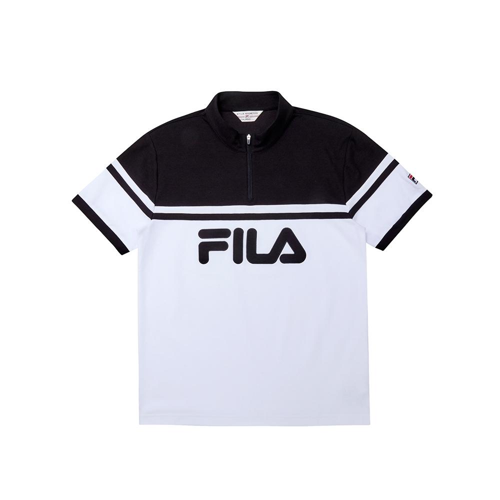 FILA 男吸濕排汗半門襟T恤-白色 1TEU-1448-WT
