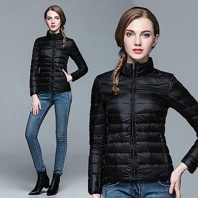 【KISSDIAMOND】SGS認證輕量立領90+羽絨外套女款黑色