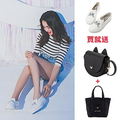 (買鞋送雙包)Grace gift-美少女戰士月亮飾釦皮革懶人鞋 白