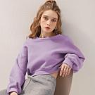 AIR SPACE 圓領短版內刷毛長袖衛衣(紫)
