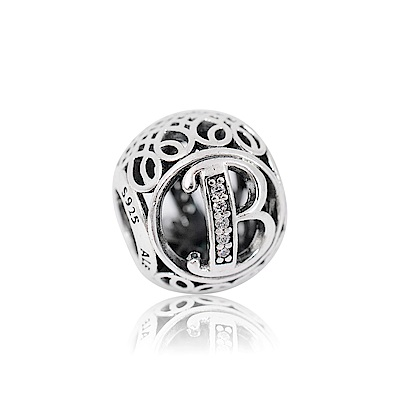 Pandora潘朵拉復古字母B鑲鋯純銀墜飾串珠