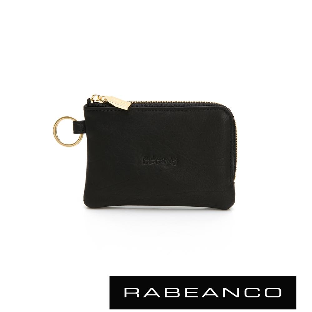 RABEANCO 經典小羊皮萬用鑰匙零錢包 咖