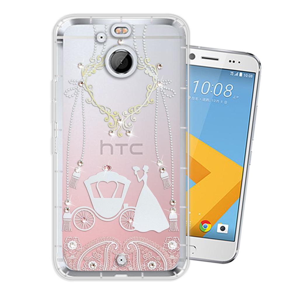 HTC 10 evo 奧地利水晶彩繪空壓手機殼(精靈捧花)