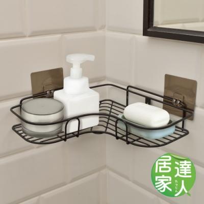 居家達人 壁掛式無痕貼 廚衛L型角落置物收納架 (黑色-2入組)