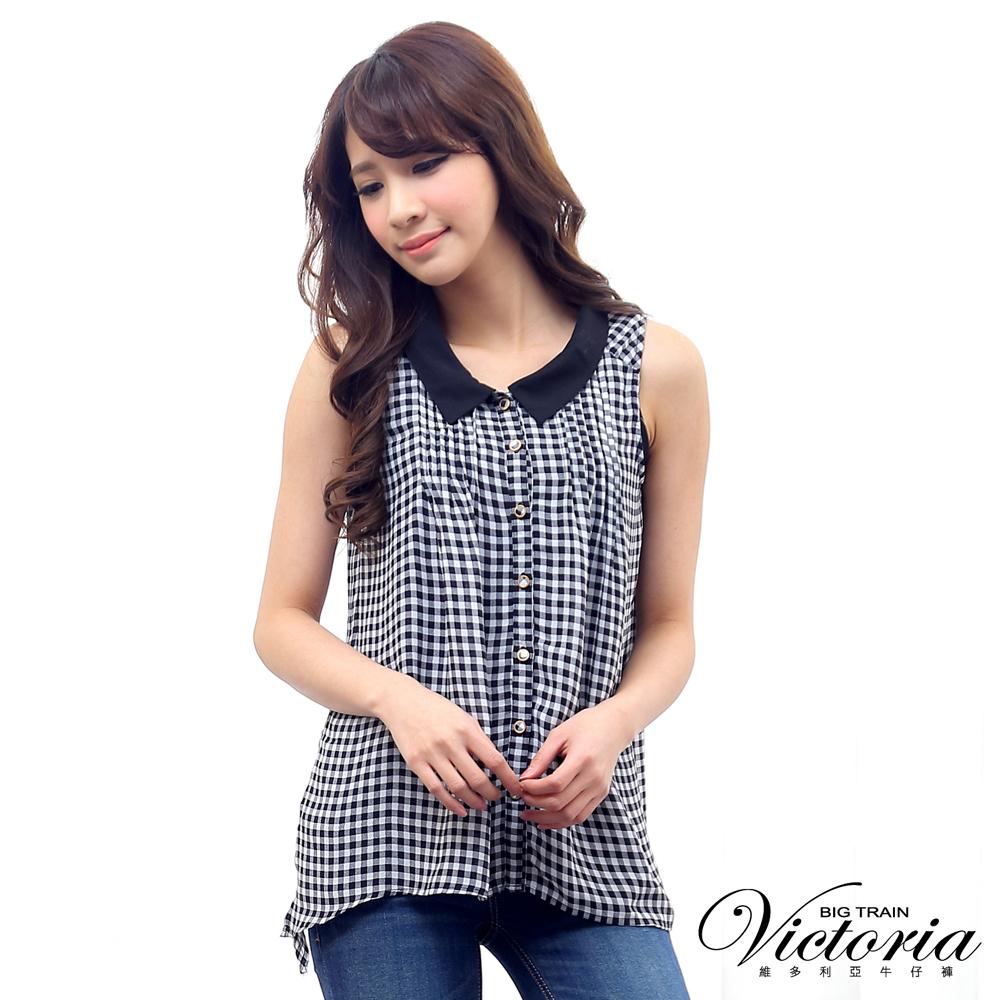 Victoria 兩件式印格側開叉綁帶背心-女-黑白格