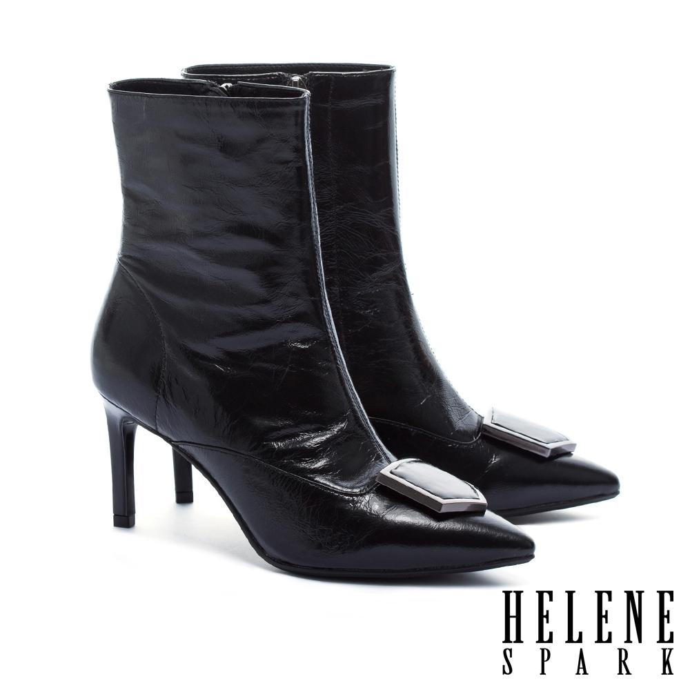 短靴 HELENE SPARK 超現代摩登皺金屬牛皮尖頭高跟短靴-黑
