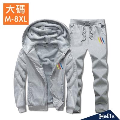 HeHa-大碼三原色鋪棉連帽運動套裝 三色