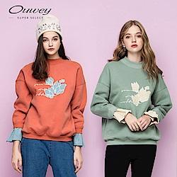 OUWEY歐薇 花卉字母刺繡質感內刷毛大學T(桔/藍)