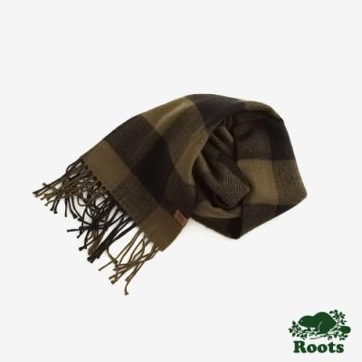 ROOTS 配件-  經典格紋長條圍巾-綠