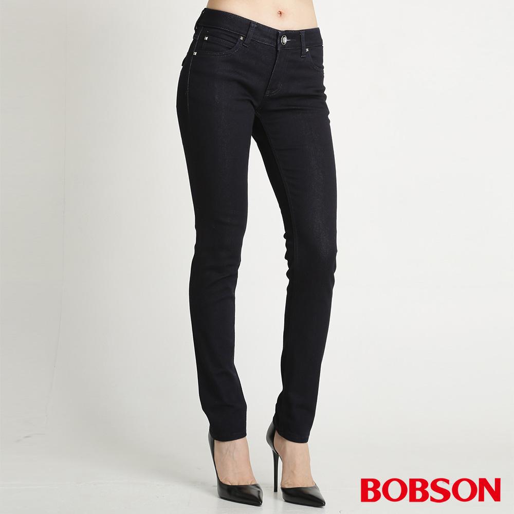 BOBSON 女款仿皮口袋保暖紗小直筒褲(深藍52)