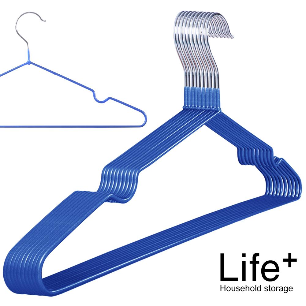 [團購] Life Plus 輕巧PVC環保浸膠不鏽鋼防滑衣架(10組100入)