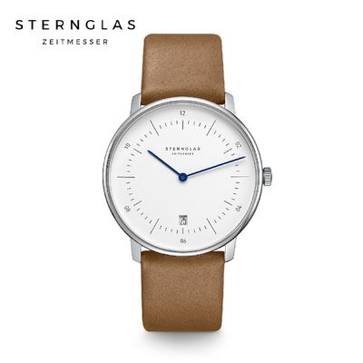 STERNGLAS 德國希丹格斯 S01-NA01-PR01 簡約時尚白盤文青石英錶(淺棕錶帶) 38mm 男/女錶