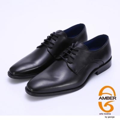 Amber 經典素面柔軟真皮紳士皮鞋-黑色