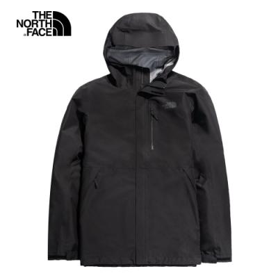 The North Face北面男款黑色防水透氣衝鋒衣|46LBJK3