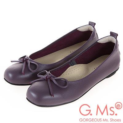 G.Ms. MIT系列-牛皮蝴蝶結方頭娃娃鞋-紫色