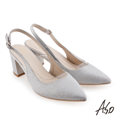 A.S.O 璀璨宴會 優雅時尚閃亮金蔥布後拉帶中跟鞋-銀