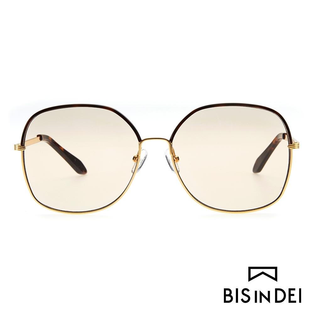 BIS IN DEI 精緻金屬方框太陽眼鏡-咖