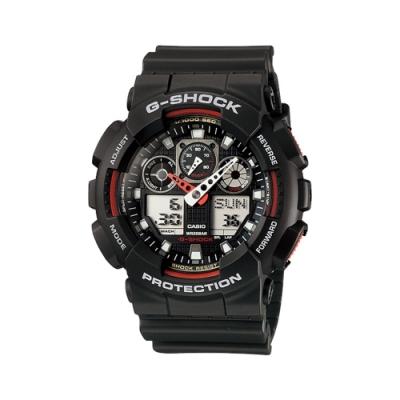 CASIO 卡西歐  G-SHOCK系列 個性機械感三眼雙顯電子錶-黑x紅/55.0mm
