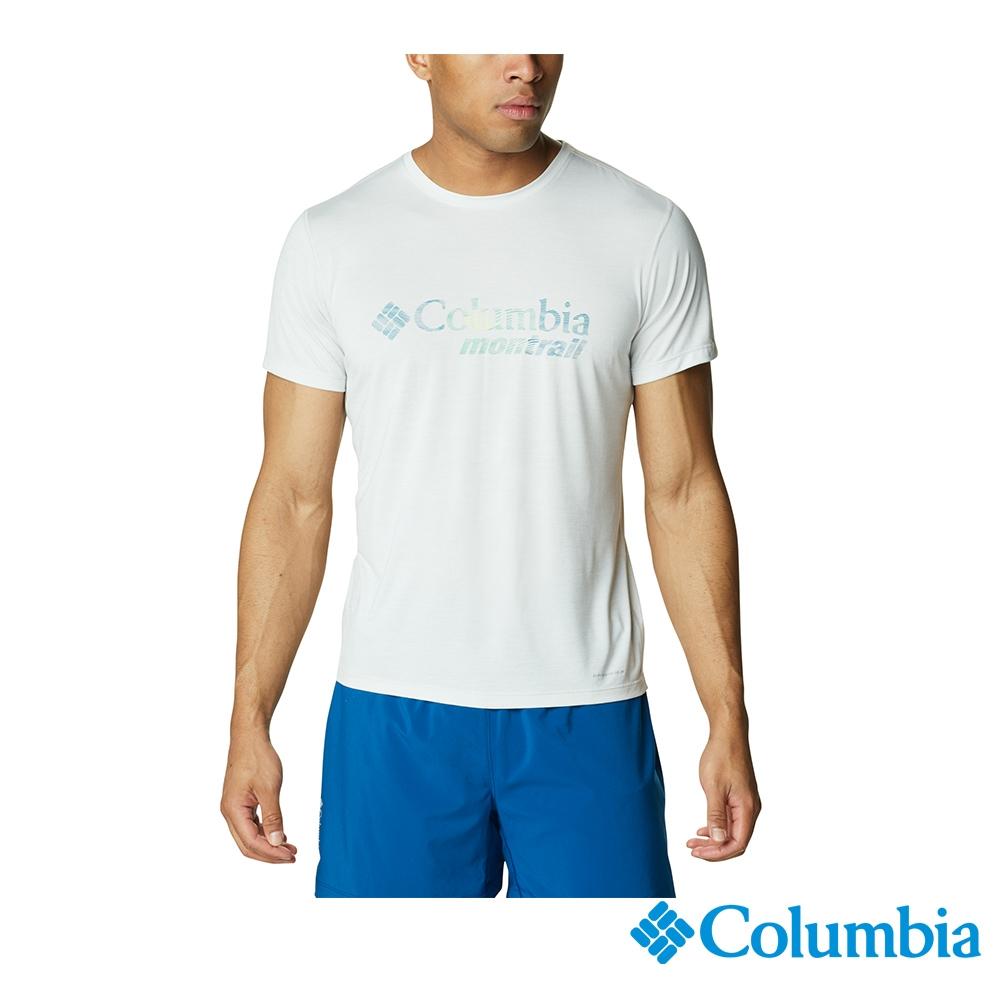 Columbia 哥倫比亞 男女 款- 野跑 UPF15 快排短袖上衣-6款 (男款 - 淺灰)