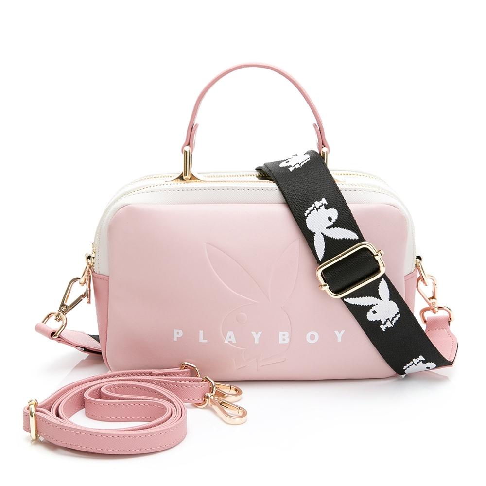 PLAYBOY-  斜背包附長及寬版背帶  玩色繽紛系列 -粉色