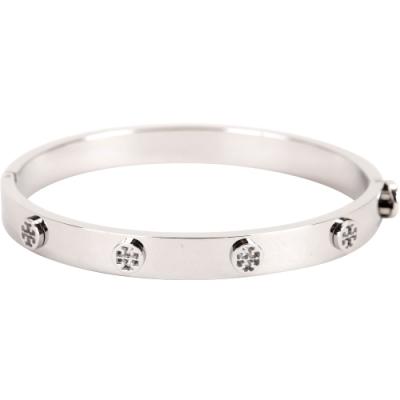 TORY BURCH Logo Stud Hinge 銀色雙T盾牌鉚釘黃銅手環