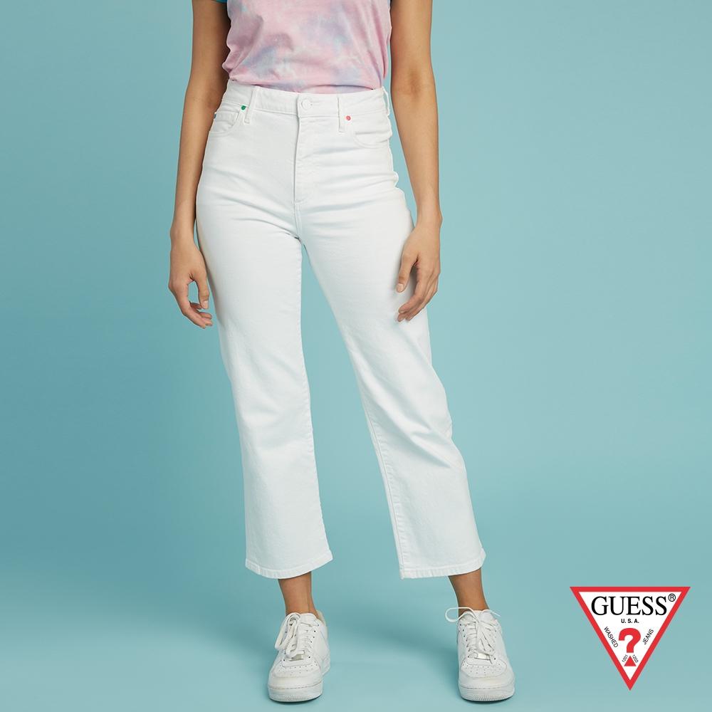 GUESS-女裝-FriendsWithYou系列 純色丹寧牛仔長褲-白 原價3990
