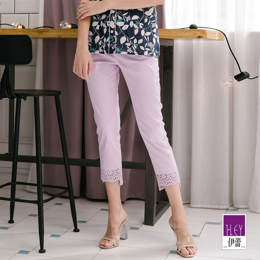 ILEY伊蕾 蕾絲裝飾水洗彈力七分褲(白/紫)