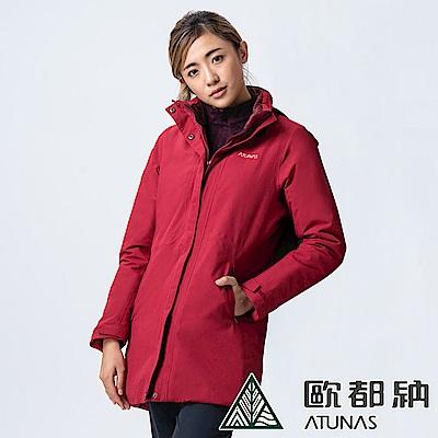 【ATUNAS 歐都納】女款中長版單件式科技纖維防水外套(A1-G1838W深棗紅)