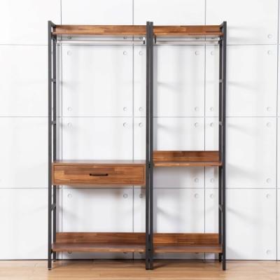 D&T德泰傢俱 格萊斯積層木工業風4.6尺中抽+單吊多功能衣櫃-140x44x196cm