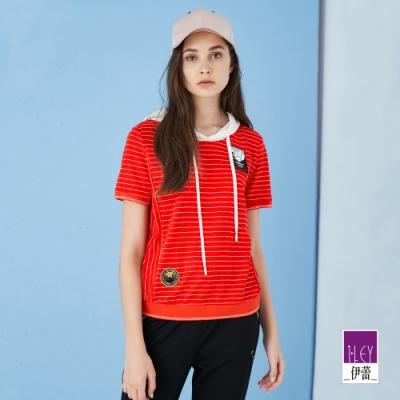 ILEY伊蕾 亮麗條紋運動感連帽上衣(紅)