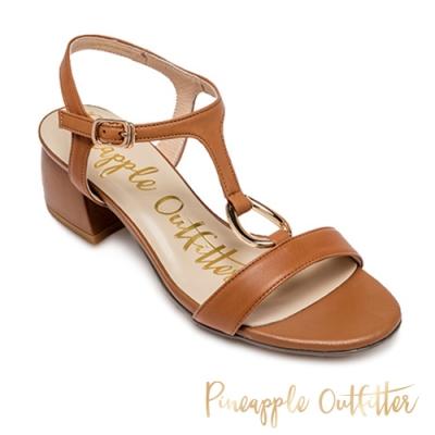 Pineapple Outfitter-SATRIA 氣質款金扣T字帶粗跟涼鞋-卡其棕