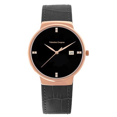 Valentino Coupeau 范倫鐵諾 古柏 時尚極簡設計腕錶【玫瑰/黑皮/黑珠】