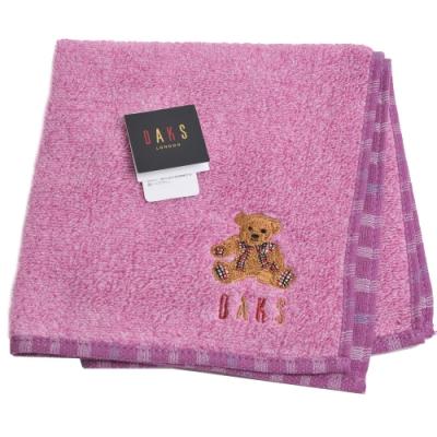 DAKS 經典品牌格紋字母可愛泰迪熊刺繡LOGO小方巾(葡萄紫)