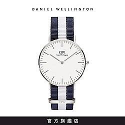 DW 手錶 官方旗艦店 36mm銀框 Classic 百搭藍白織紋手錶