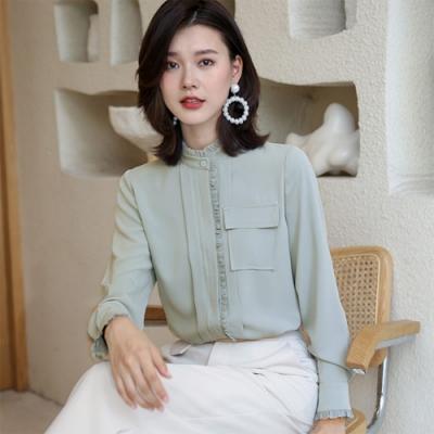 設計所在Lady-長袖襯衫寬鬆荷葉邊立領上衣雪紡衫(三色M-2XL可選)