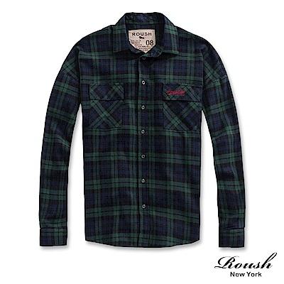 Roush 落肩設計法蘭絨格紋工裝襯衫(3色)