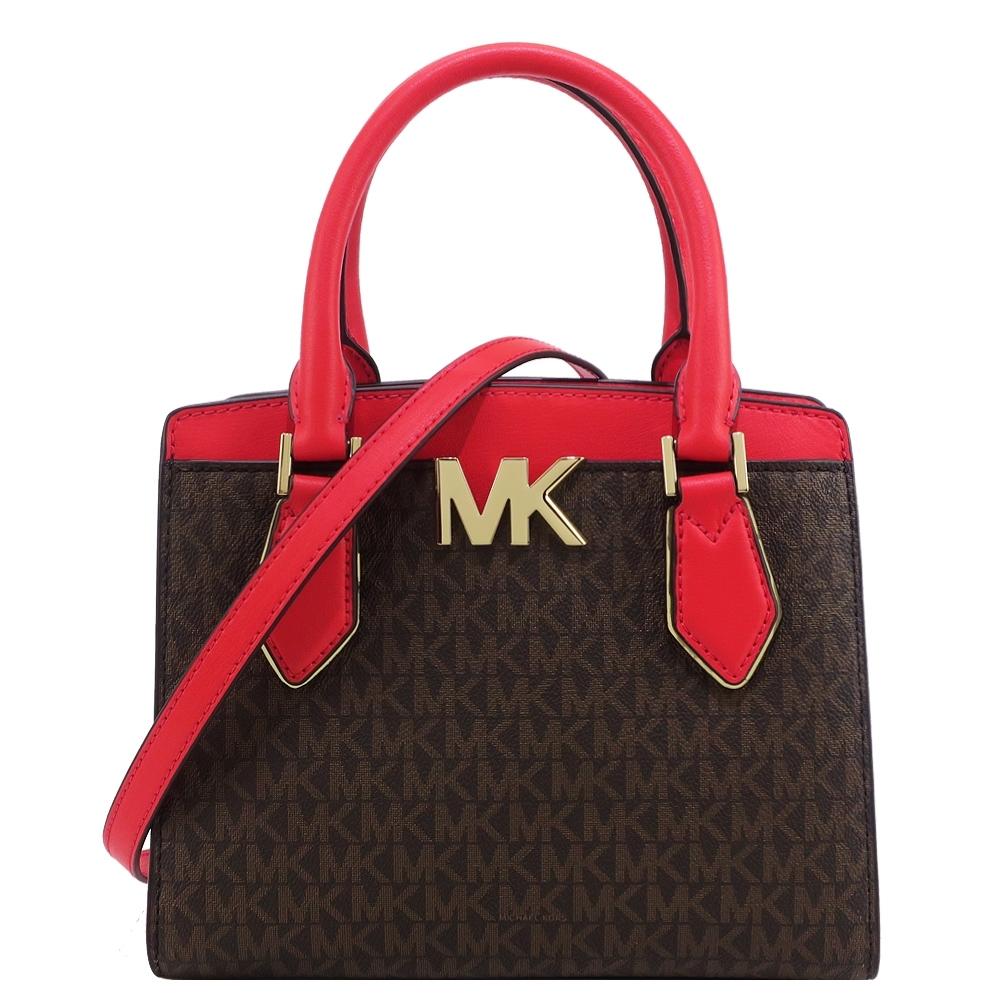 MK MICHAEL KORS MOTT滿版三層手提斜背兩用包-中/紅