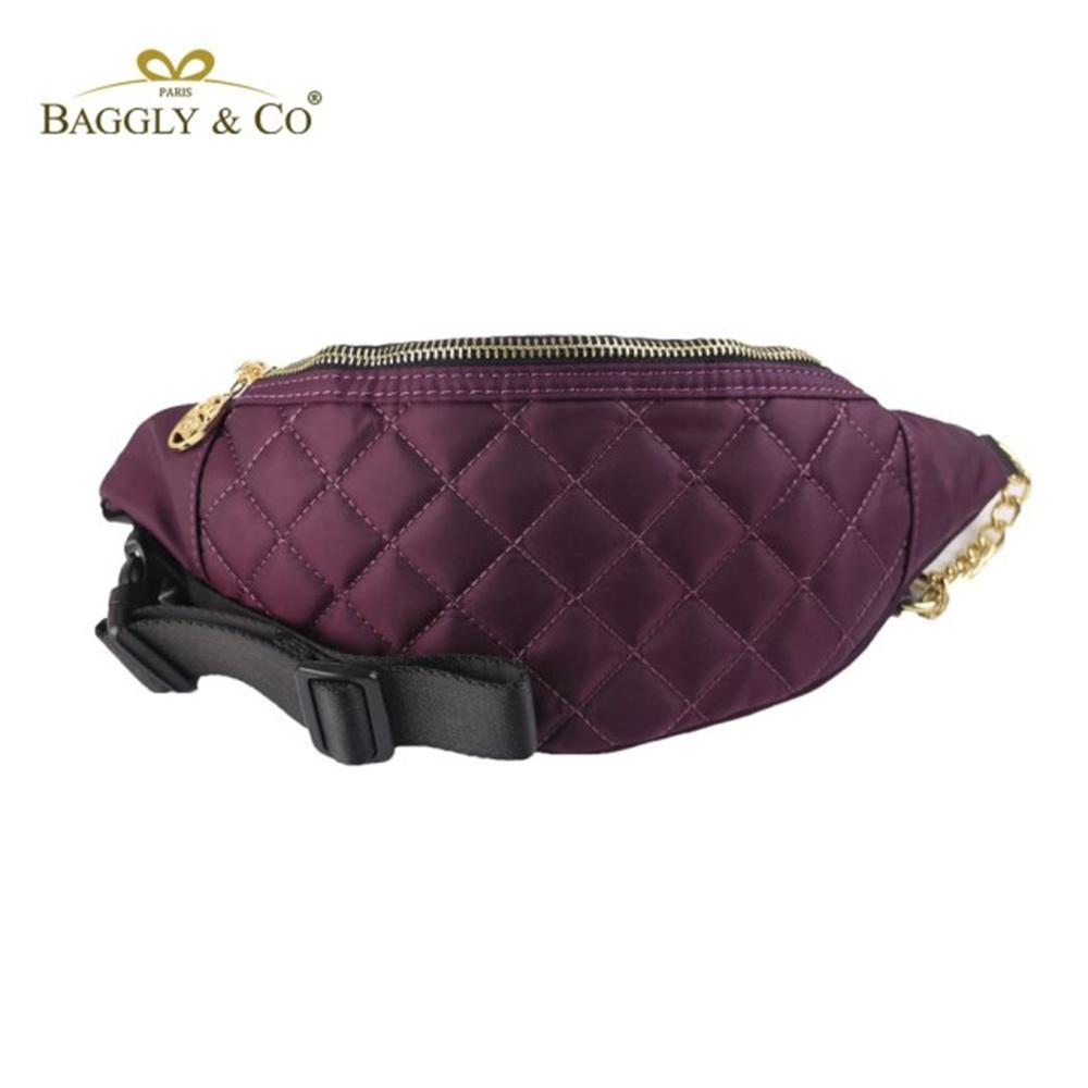 【BAGGLY&CO】質感菱格紋真皮尼龍鏈條胸包腰包(三色)