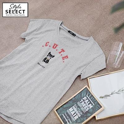鬥牛犬字母燙印設計高含棉上衣-OB大尺碼
