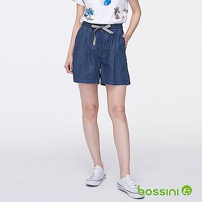 bossini女裝-時尚寬版短褲01牛仔藍