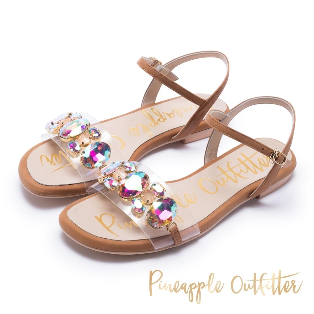 Pineapple Outfitter 璀璨亮鑽透明繫帶平底涼鞋-棕色