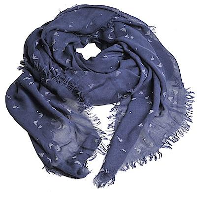 EMPORIO ARMANI 繽紛金屬鉚釘品牌圖騰LOGO造型圍巾(深藍灰)