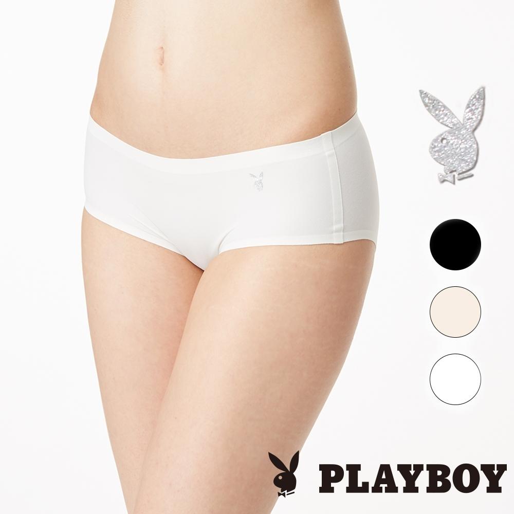 【PLAYBOY 女性內衣】經典Logo無痕三角褲-牙白