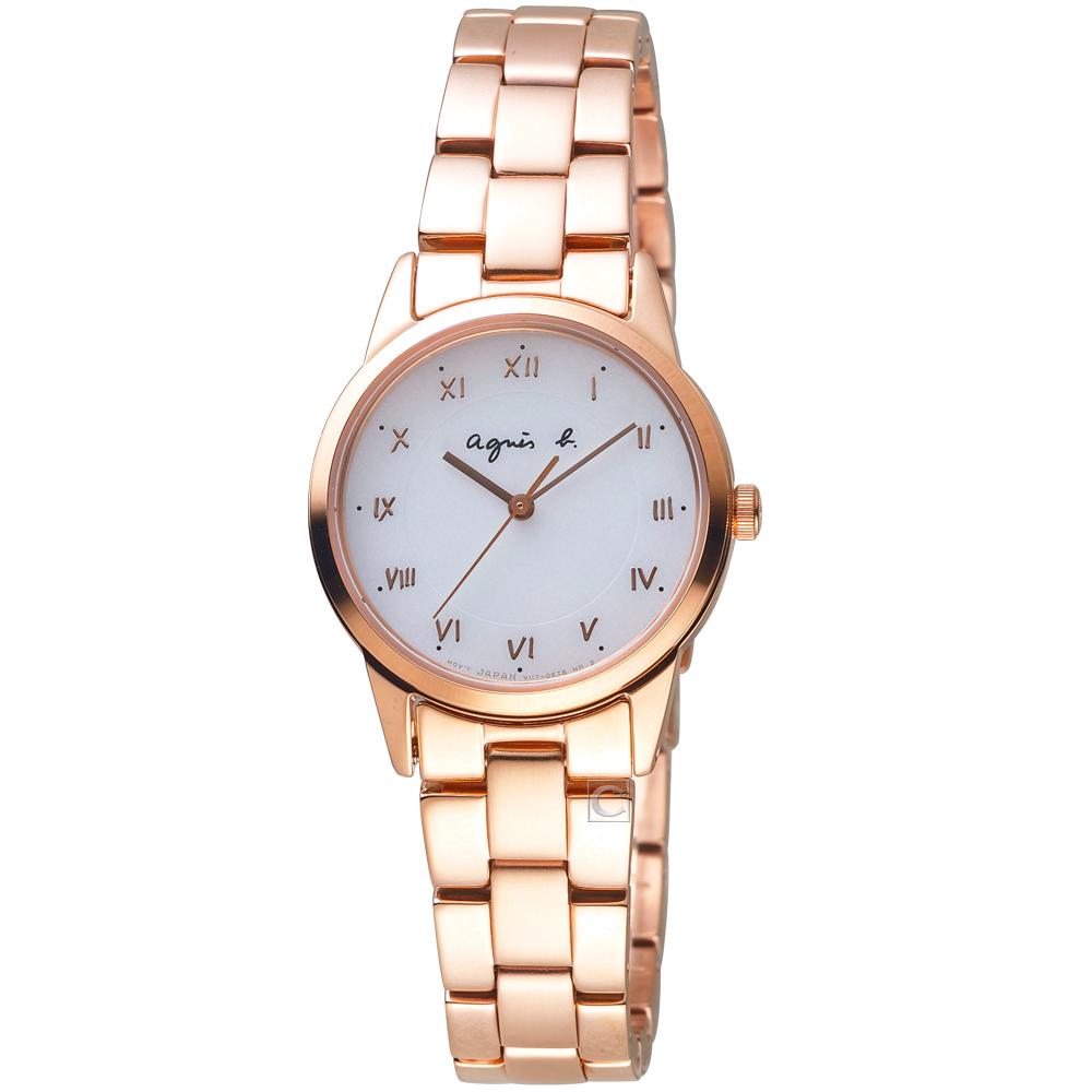 agnes b.法式簡約太陽能腕錶(BU9034P1)-27mm/玫瑰金